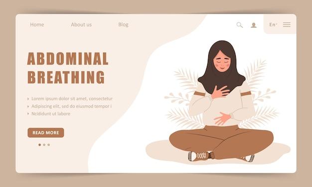 Respiração diafragmática. modelo de página de destino. menina árabe praticando respiração abdominal para um bom relaxamento.