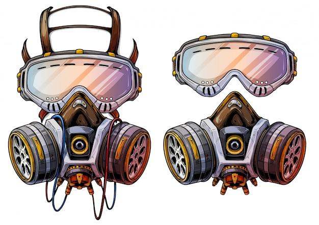 Respirador gráfico detalhado da máscara de gás da proteção
