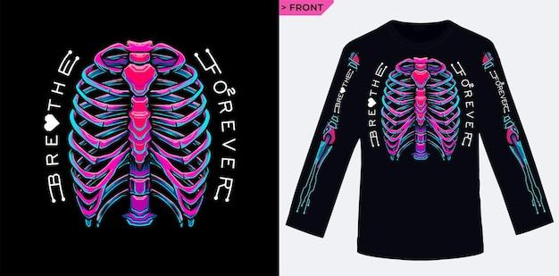 Respire para sempre com os pulmões até o futuro adequado para impressão em tela de camisa de manga longa