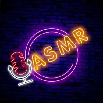 Resposta meridiana sensorial autônoma, logotipo de néon asmr
