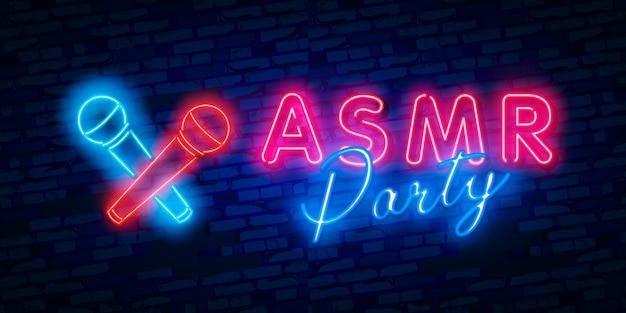 Resposta meridiana sensorial autónoma, logótipo neon de festa asmr