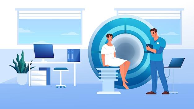 Ressonância magnética no hospital. pesquisa e diagnóstico médico. scanner tomográfico moderno. paciente em ressonância magnética.