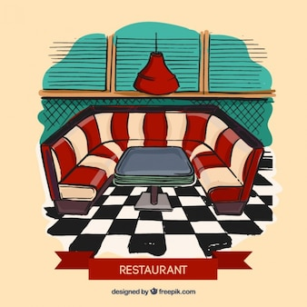 Restaurant interior ilustration