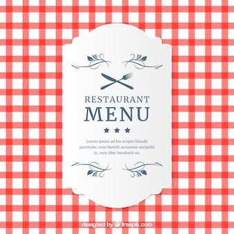 Restaurant menu cartão xadrez