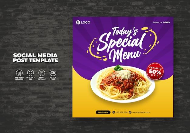 Restaurante alimentar para a mídia social espaguete menu promoção modelo