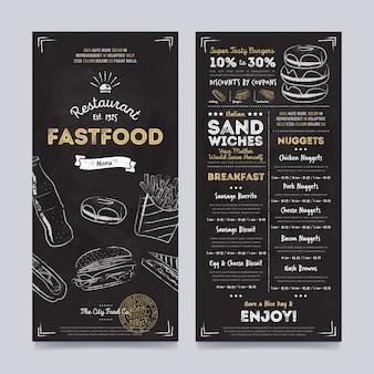 Restaurante café menu modelo de design, vetor