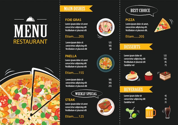 Restaurante café menu modelo design plano