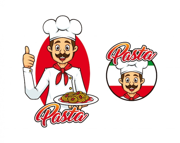 Restaurante chef italiano com massas