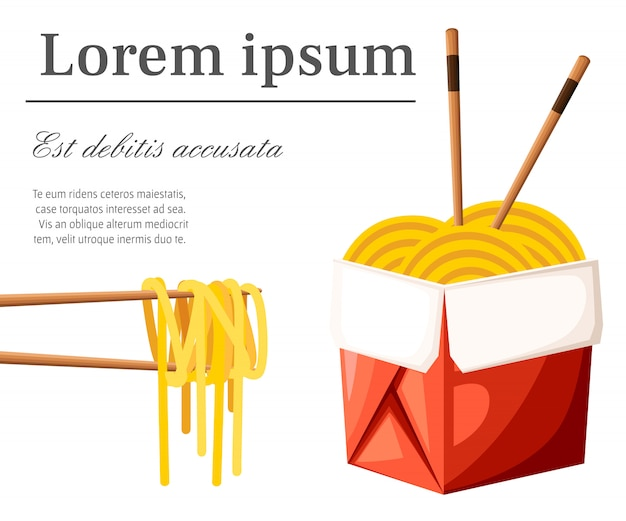 Restaurante chinês leva embora o conceito. caixa de comida vermelha com macarrão e palitos. ilustração com lugar para o seu texto sobre fundo branco. página do site e aplicativo móvel