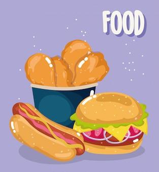 Restaurante com menu de fast food, hambúrguer de frango insalubre e ilustração de cachorro-quente