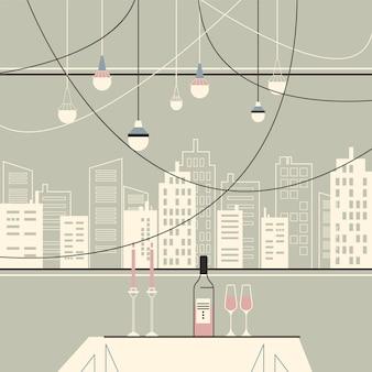 Restaurante com uma ilustração de grande janela