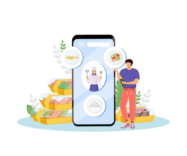 Restaurante comida encomendar on-line ilustração do conceito. personagens de desenhos animados de cliente e cozinheiro chefe de café para web. ideia criativa de aplicativo móvel de pedido de nutrição saudável