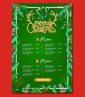 Restaurante comida menu modelo de edição de natal com elemento de natal