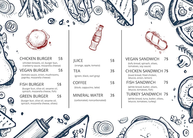Restaurante comida menu retrô mão desenhada