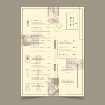 Restaurante comida orgânica menu estilo vintage