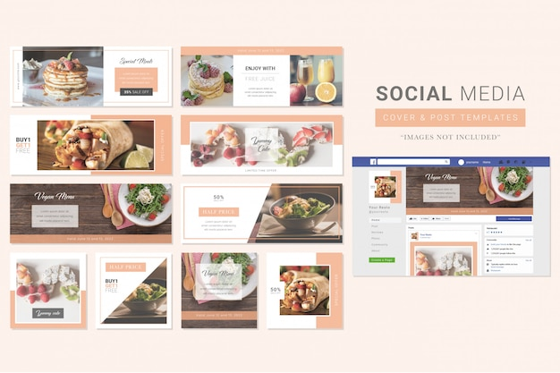 Restaurante comida social media cover & post template