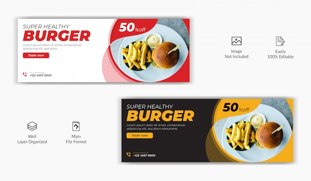 Restaurante comida venda oferta mídia social postar facebook capa página cronograma site on-line modelo de banner