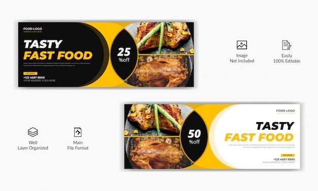 Restaurante comida venda oferta mídia social postar facebook capa página cronograma web anúncio banner modelo