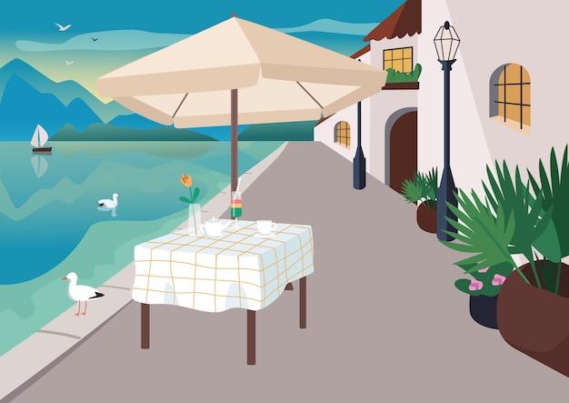 Restaurante da rua na ilustração lisa do vetor da cor da vila da estância balnear. serviu mesa de café em frente ao mar. paisagem de desenho animado 2d à beira-mar com gaivotas, montanhas e oceano no fundo