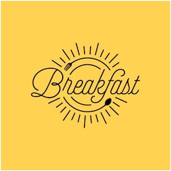 Restaurante de café da manhã com design de logotipo do nascer do sol colher garfo hipster vintage retrô tipografia