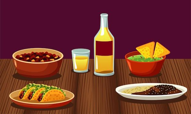 Restaurante de comida mexicana com cardápio e tequila em mesa de madeira