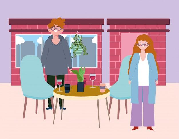 Restaurante de distanciamento social ou café, homem e mulher mantêm distância com taças de vinho e xícaras de café