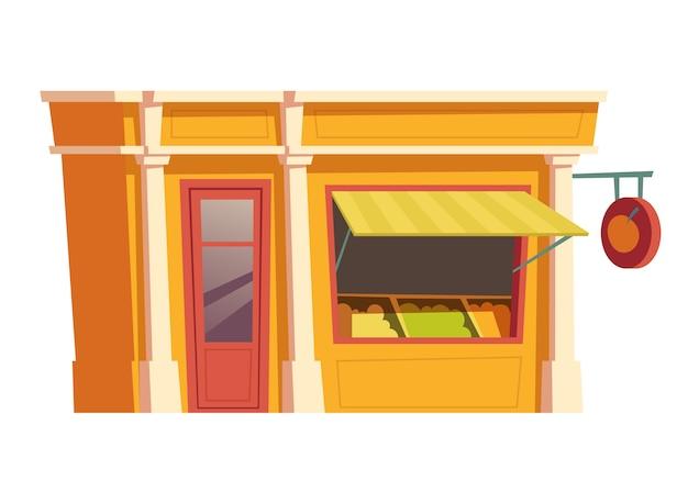 Restaurante de fast food, construção de vetor de desenhos animados