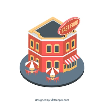 Restaurante de fast food moderno e isométrico