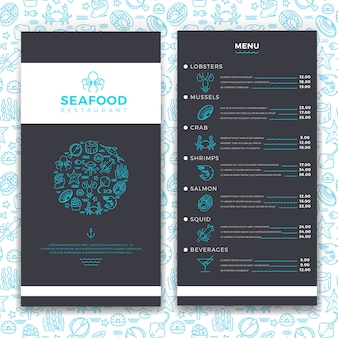 Restaurante de frutos do mar moderno, modelo de menu café brochura com ícones de comida do mar de linha