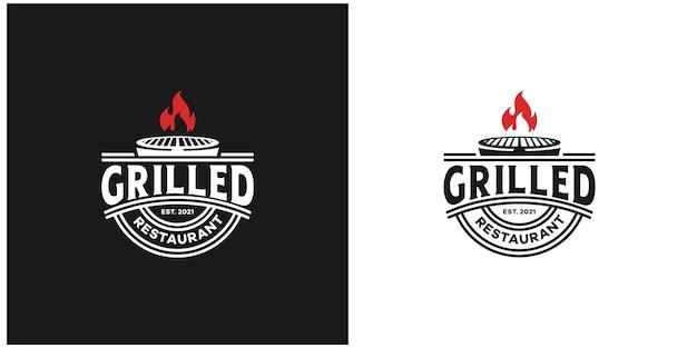 Restaurante de grelhados com emblema de estilo vintage