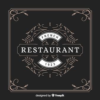 Restaurante de logotipo vintage ornamentais com frame