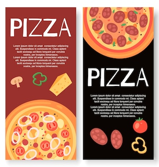 Restaurante de pizza com banner de ingredientes
