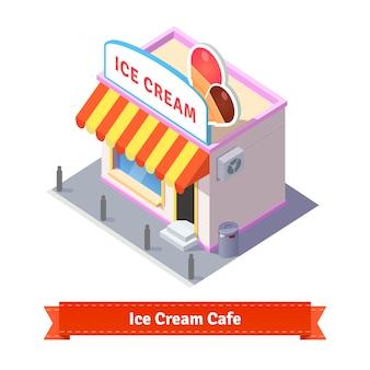 Restaurante de sorvete e edifício de loja