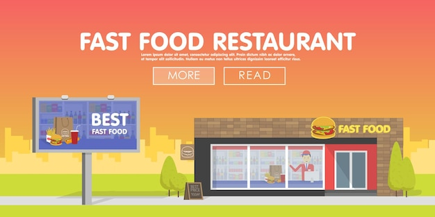 Restaurante de vitrine que vende fast food o modelo para os banners e anúncios do site