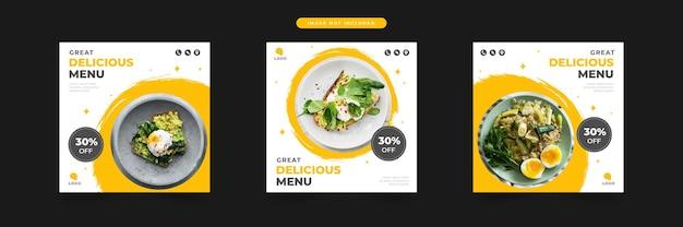 Restaurante delicioso menu promoção de mídia social e conjunto de modelo de design de postagem de banner