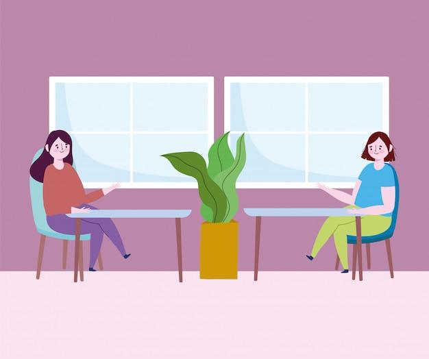 Restaurante distanciamento social, as pessoas sentam uma loja de comida à distância, coronavírus