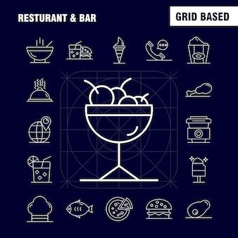 Restaurante e barra de linha ícone para web