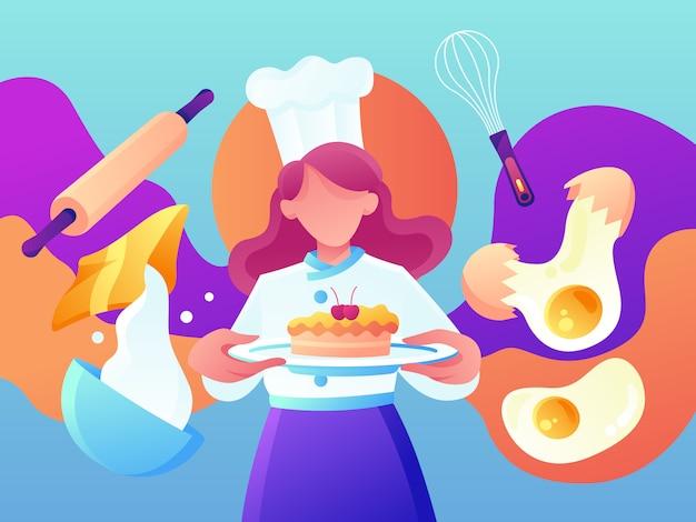 Restaurante e cozimento do cozinheiro chefe