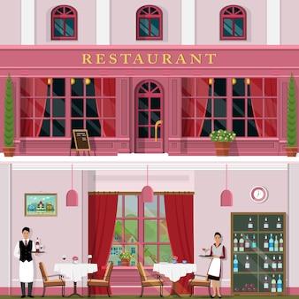 Restaurante elegante com interior e exterior, garçons e garçonete.
