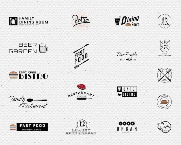 Restaurante emblemas logotipos e rótulos