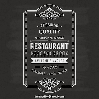 Restaurante etiqueta vintage