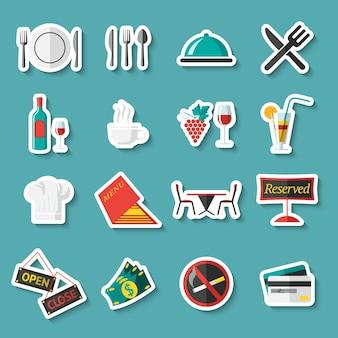 Restaurante etiquetas em um fundo azul