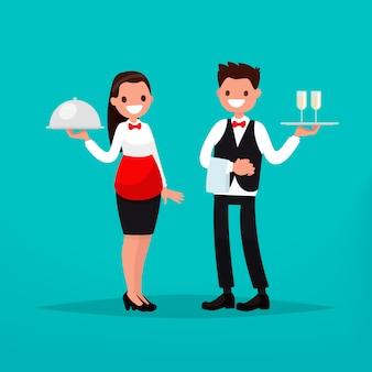 Restaurante garçom e garçonete.