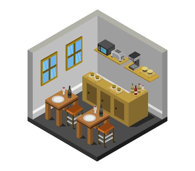 Restaurante isométrico com mesas