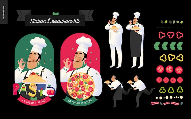 Restaurante italiano com personagens e ingredientes