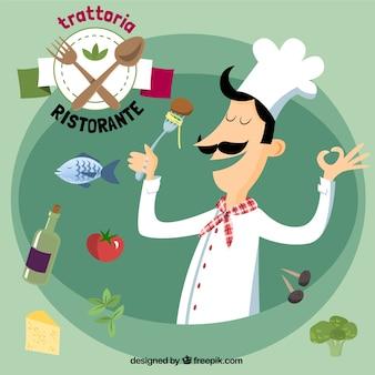 Restaurante italiano ilustração