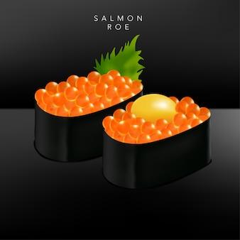 Restaurante japonês fino ou sushi bar restaurante realista sushi de ovas de salmão ilustração com gema de ovo de codorna ou folhas de manjericão