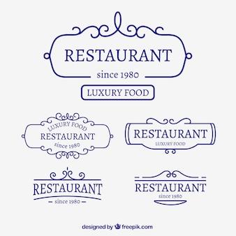 Restaurante logo plano set