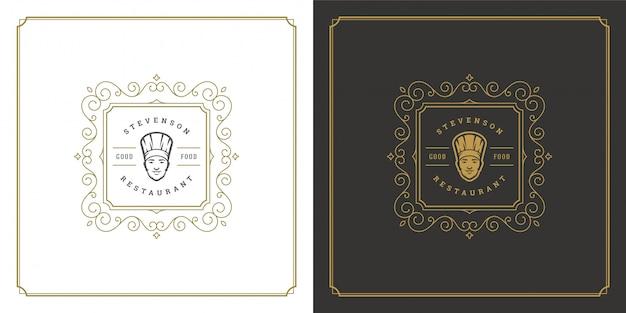 Restaurante logotipo modelo ilustração chef cara no chapéu símbolo e ornamento redemoinhos bom para menu e café sinal