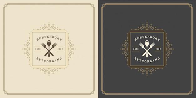 Restaurante logotipo modelo ilustração garfo e colher símbolo e ornamento redemoinhos bons para sinal de menu e café.